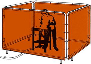 Utilização de lona para biombo de solda Proteção durante o processo de soldagem