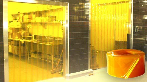 Cortina de pvc amarela